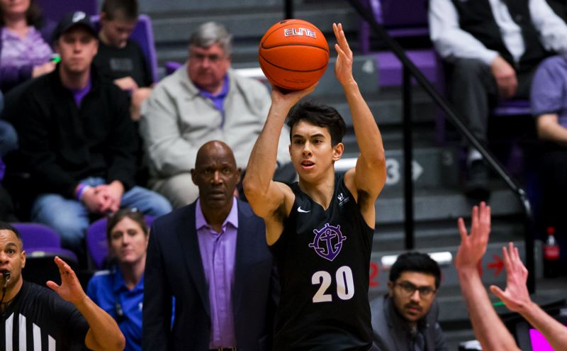 COURTESY PHOTO: UP ATHLETICS - With Terry Porter out at Portland, player retention and development will be emphasized in the search for the next UP men's basketball coach. Forward Takiula Fahrensohn (20 in a 2019 game) is the lone player from a touted 2017 recruiting class playing for the Pilots this season.