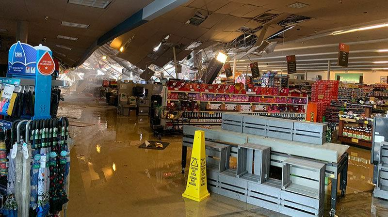 COURTESY PHOTO: MULTNOMAH COUNTY SHERIFFS OFFICE - The roof at the Cherry Park Safeway collapsed under the weight of snow and ice Monday afternoon, Feb. 15.