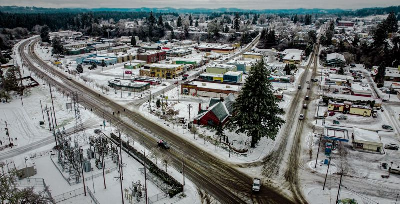 COURTESY PHOTO: PAUL STROBEL - Downtown Estacada was covered in snow on Saturday, Feb. 13.