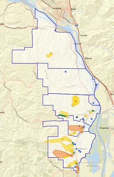 SUBMITTED PHOTO: COLUMBIA RIVER PUD - This map shows the areas that were affected by the snow and ice-driven power outages.