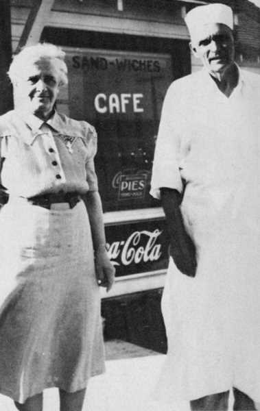 PHOTO COURTESY OF BOWMAN MUSEUM  - Edith and William Moore at Cactus Inn Cafe in Madras.