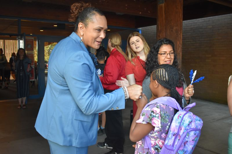 PMG FILE PHOTO - Katrise Perera, superintendent of Gresham-Barlow School District, greets students on the first day of school last year,  prior to the pandemic school closures.