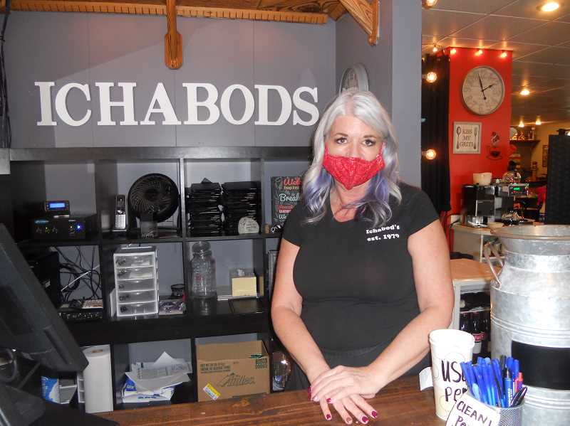 PMG PHOTO: SCOTT KEITH - Tina Hall, the owner of Ichabod's Restaurant in Scappoose, is welcoming more inside dining.