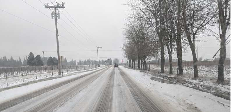 FILE PHOTO - The roads were plenty ice over the weekend as the storm dropped new coatings of ice multiple times in Canby and Molalla.