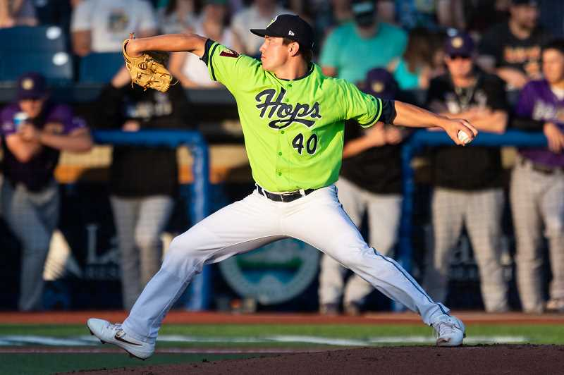 PMG FILE PHOTO: CHRISTOPHER OERTELL - Hillsboro Hops pitcher Tyler Holton during a game in 2019. The Hops announced their coaching staff for the 2021 season Tuesday morning, Feb. 16.