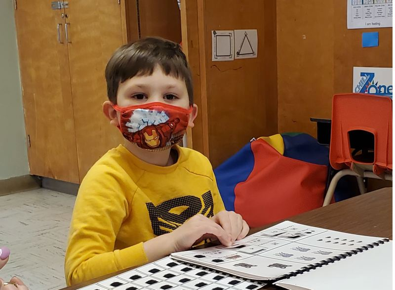 COURTESY PHOTO: GRANT WATTS ELEMENTARY SCHOOL - A student participates in an activity at Grant Watts Elementary School last week, as in-person classes resumed.