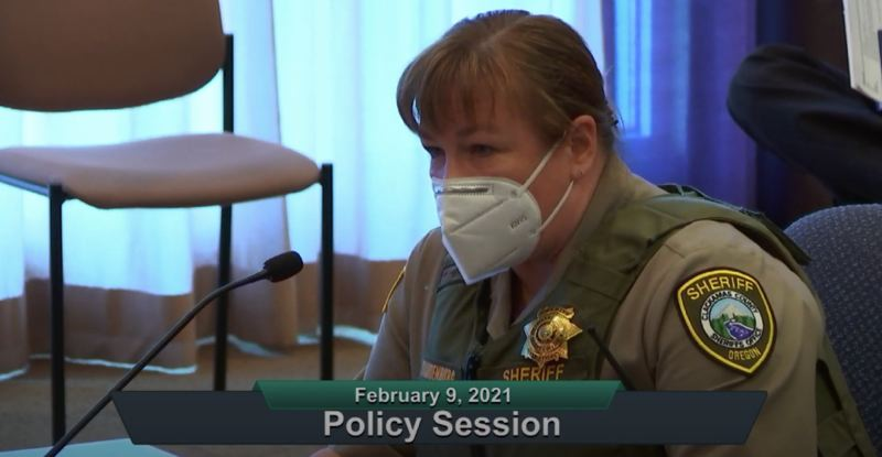 SCREENSHOT - ZOOM - Clackamas County Sheriff Angela Brandenburg is seeking a 12-cent increase for the Clackamas Sheriff's Levy to meet risings costs, demand for services and mental heal bed capacity.
