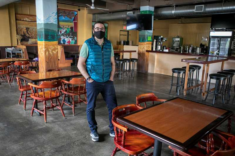 PMG PHOTO: JAIME VALDEZ - Chris Sjolin, a partner in Cooper Mountain Ale Works, and his wife shuttled employees to the restaurant and pub over the weekend during the winter storm. He and other restaurants are looking forward the partial reopening of indoor dining, something that has been prohibited since November.