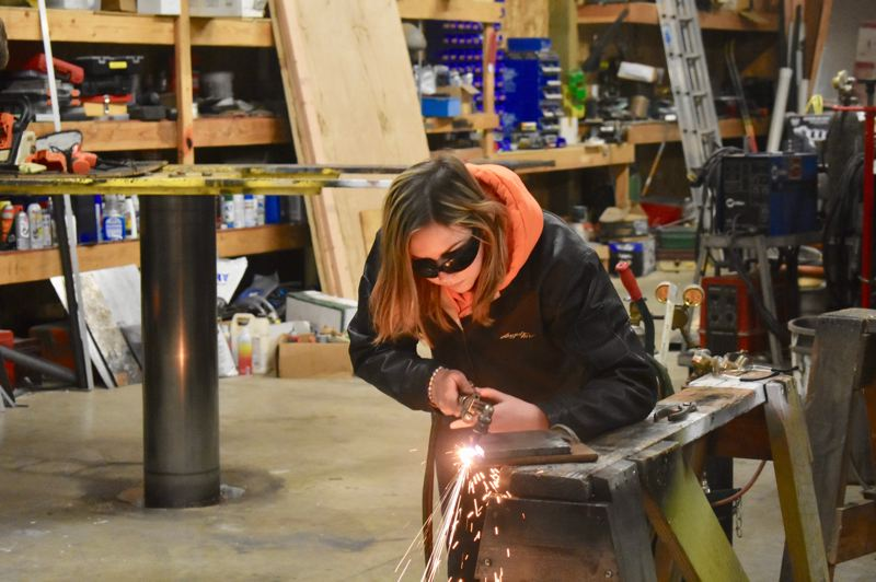 PMG PHOTO: EMILY LINDSTRAND - Meadow Copher is a student in David Richards' welding program.
