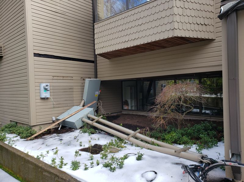 COURTESY PHOTO - The Lake Oswego Public Library receives significant damage to its power grid during the recent snowstorm.