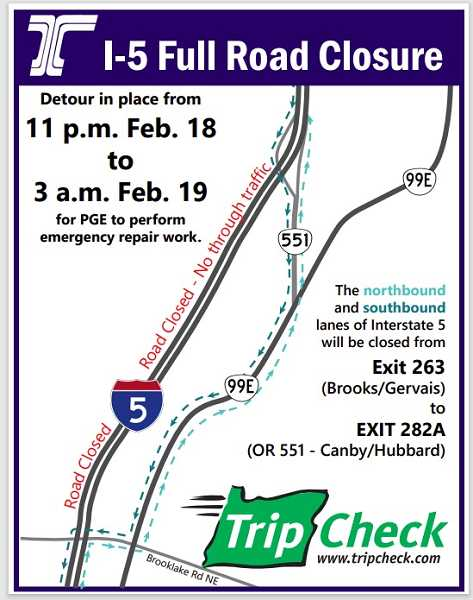 COURTESY PHOTO: ODOT - This map details the area where I-5 will be closed Feb. 18-19