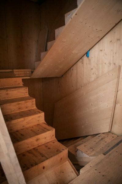 PAMPLIN MEDIA GROUP: JAIME VALDEZ - Waechter Architecture Principal Architect Ben Waechter chose to source cross-laminated timber not from an Oregon source but from KLH Massivholz GmbH in Austria, because it would be all of one type of wood (spruce) and because the company could make everything, including the stairs, and have it fit together perfectly. The stairs float 3 inches from the wall, which looks good and is good in an earthquake.