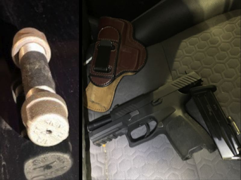 COURTESY PHOTOS: WASHINGTON COUNTY SHERIFF'S OFFICE - A metal pipe and handguns were confiscated after deputies arrested a man in Cornelius on Tuesday, Feb. 16, after he allegedly pointed a gun at another driver during a bout of road rage.