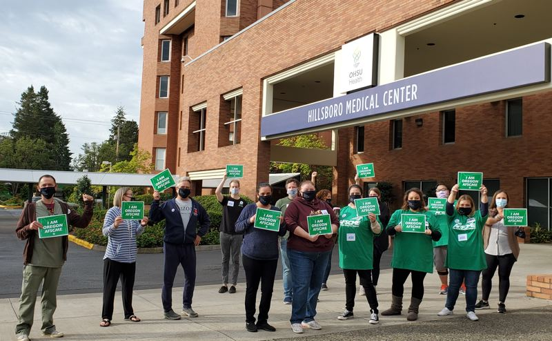COURTESY PHOTO: OREGON AFSCME COUNCIL 75 - Workers at the OHSU Health Hillsboro Medical Center celebrate a January vote to unionize with Oregon AFSCME Council 75.