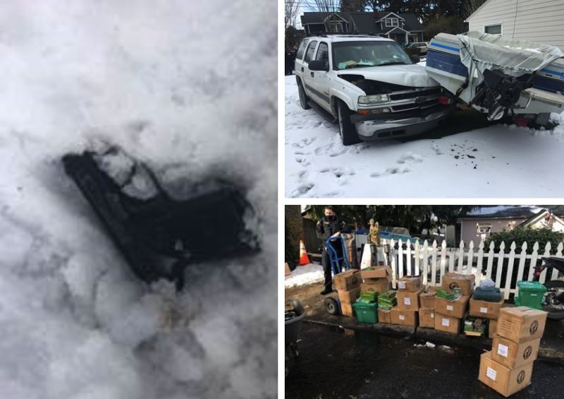COURTESY PHOTO: PPB - A black handgun and $16,000 worth of stolen property were recovered after a brief pursuit that ended with a suspect crashing their SUV into a boat.
