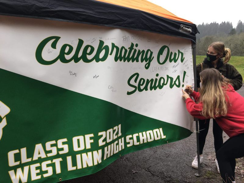 COURTESY PHOTO: RACHEL STEVENSON - The parent group hopes all seniors get a chance to sign the banner.
