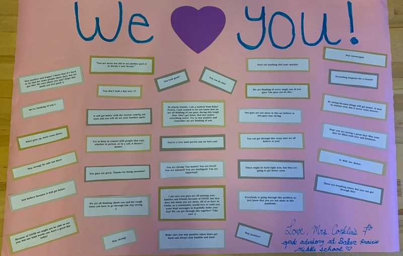 COURTESY PHOTO - Emily Conklin's advisory students wrote positive notes for residents at Hope Village Assisted Living, like 'You can do this.' The notes were then adhered to a poster and delivered to the facility.
