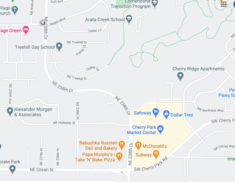 COURTESY: GOOGLE MAPS - Busy 238th Drive in Wood Village will close for construction in April from roughly the Cherry Park Market Center to the bottom of the hill at Arata Road, marked with a gray indicator on this map.