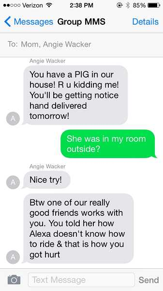 COURTESY PHOTO - Ashley Maestas shares screenshots of texts she received from Oregon City High School equestrian coach Angie Wacker.