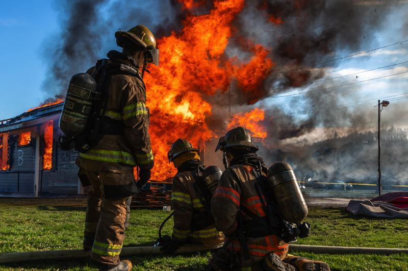 COURTESY PHOTO: CITY OF GRESHAM - The 2020/21 Gresham Fire Recruit Class conducted a final training exercise with a controlled burn  of a vacant building at My Fathers House shelter earlier this year.
