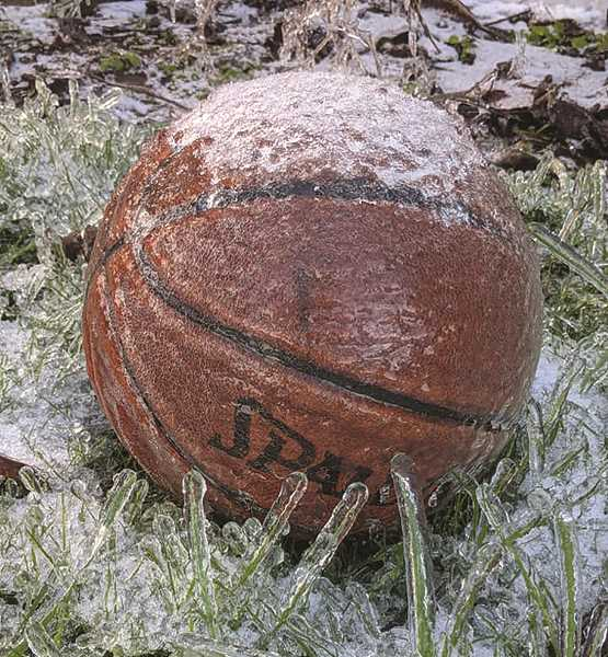 PMG PHOTO: LISA HORDICHOK - A little reminder that it's always good to remove your basketball from the lawn when you're done playing with it.