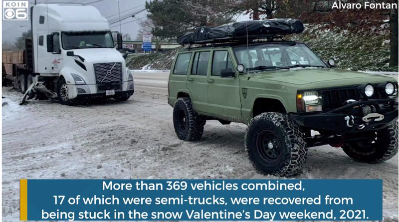 COURTESY PHOTO: KOIN 6 NEWS - The Offroad Portal network connects about 1,000 fully equipped members across Oregon and southern Washington who can be dispatched when a recovery is requested.