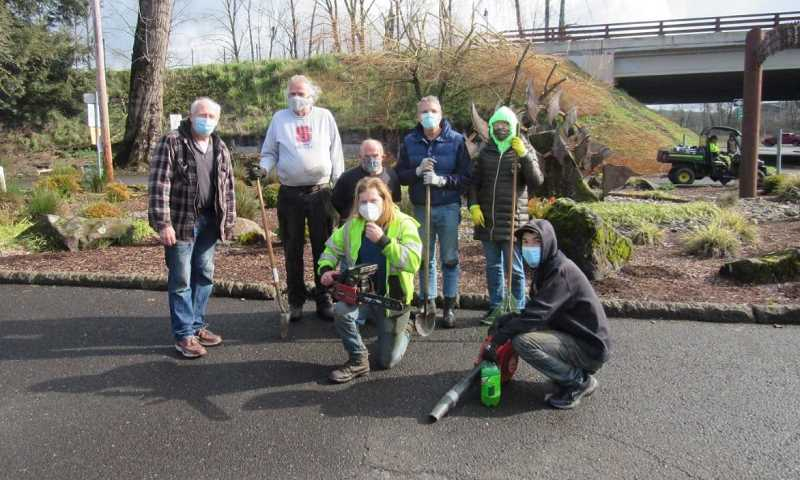COURTESY PHOTO: AIDAN MCNIECE  - Jerry Herrmann (from left) organizes a Feb. 20 cleanup event with former Oregon City Mayor Doug Neeley, Jerry Miller, Joshua Beckham, State Sen. Bill Kennemer, County Clerk Sherry Hall and Cody Hinze.