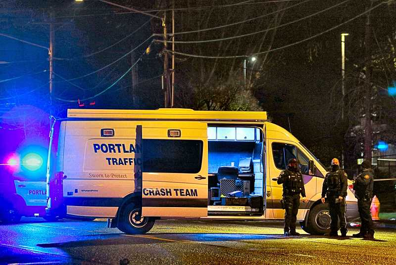 DAVID F. ASHTON - The PPB Major Crash Team responded to the Brooklyn neighborhood, on S.E. McLoughlin Boulevard (Highway 99E) at Franklin Street - where a pedestrian, dressed in dark clothing, was hit and killed by a car as he crossed a traffic lane at night.