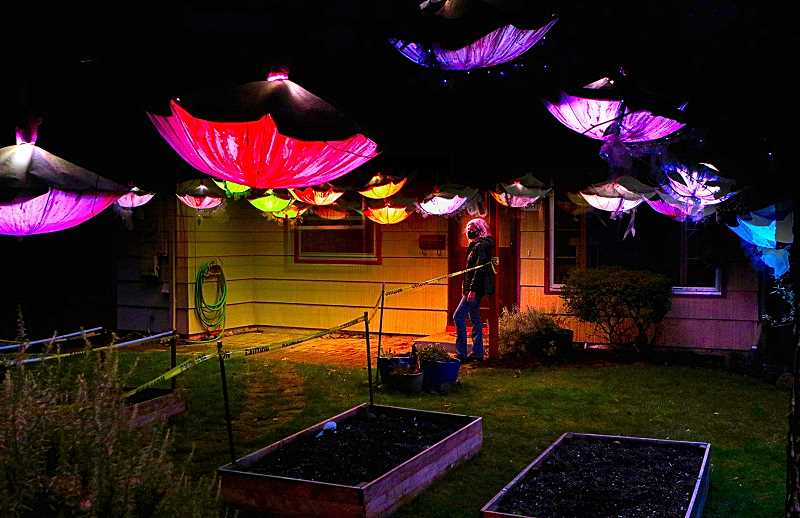 DAVID F. ASHTON - In her Woodstock yard, artist Cassandra Walters stood with her exhibit in this years Portland Winter Lights (non)Festival. Visitors were welcome until the festival ended. It was called, Wildfire Skies, 2020.
