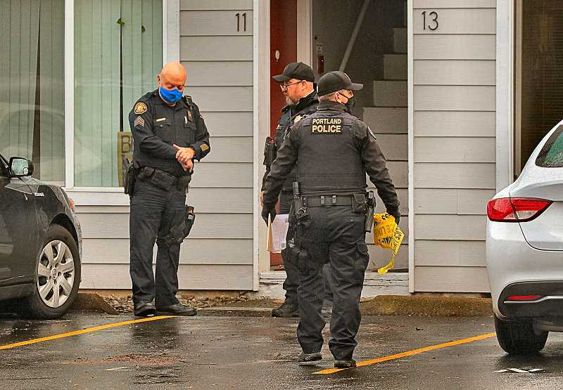 DAVID F. ASHTON - Officers awaited the arrival of PPB Family Services Division detectives, when they found a person stabbed in a Woodstock apartment on S.E. 52nd Avenue.