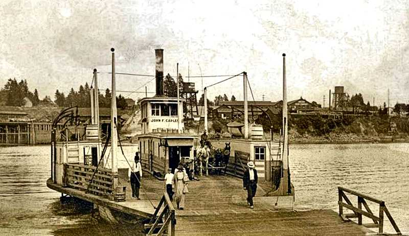 COURTESY PINTREST - Five passengers are shown walking off the John F. Caples ferry, while a wagon pulled by two horses awaits its turn. The East Side Lumber Mill is visible on the eastern (Sellwood) side of the river. The photo was taken around 1910.