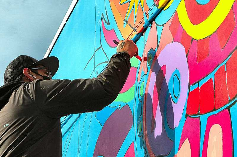 DAVID F. ASHTON - This colorful mural, based on designs by 12-year-old Indigo Nellis-Ultreras, and painted by muralist Christian J. Barrios, is brightening up the corner of Flavel and S.E. 72nd in the Brentwood-Darlington neighborhood.