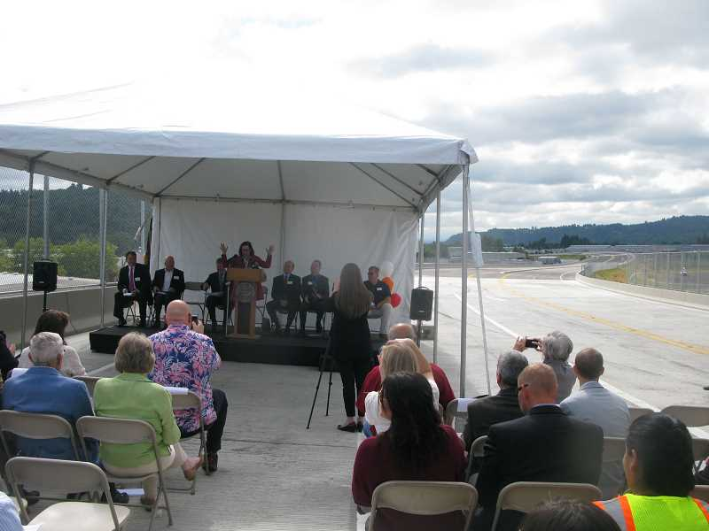 PMG FILE PHOTO: RAYMOND RENDLEMAN - Gov. Kate Brown speaks at the 2016 dedication of the new Sunrise Expressway, which Clackamas County leaders would like to extend through Damascus.