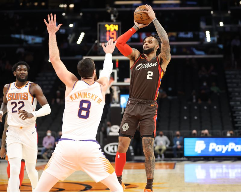 COURTESY PHOTO: BRUCE ELY/TRAIL BLAZERS - Phoenix blew out Portland on Monday, but Gary Trent Jr. set a franchise record with his 11th consecutive game with at least three 3-pointers.