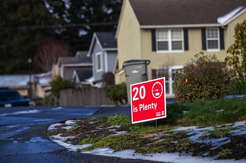 PMG PHOTO: JAIME VALDEZ - Tigard is pushing a campaign of '20 is Plenty,' with a goal of reducing speeds on many city streets from 25 mph to 20 mph. That small drop in speed increases the survivability of pedestrians struck by vehicles, experts say.
