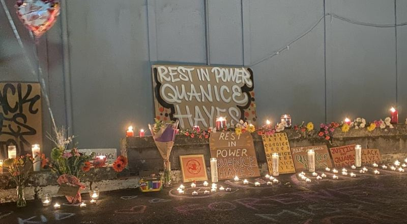 CONTRIBUTED PHOTO: KOIN 6 NEWS - A tribute to Quanice Hayes was established near where he was killed.