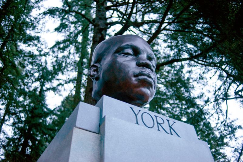 COURTESY PHOTO: MICK HANGLAND-SKILL/PORTLAND PARKS & RECREATION - A statue of York, the first Black explorer to reach Oregon, was installed by persons unknown at Mt. Tabor Park in Portland sometime before Feb. 20.