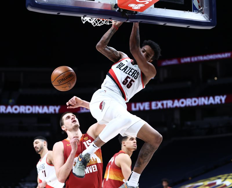 COURTESY PHOTO: BRUCE ELY/TRAIL BLAZERS - Derrick Jones Jr. had a season-high 18 points, but Nikola Jokic and the Denver Nuggets got the better of the Trail Blazers on Tuesday.