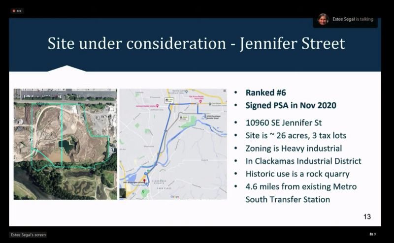 SCREENSHOT - ZOOM  - The 26-acre site at 10960 S.E. Jennifer St. is currently under consideration by Metro for a new waste collection site. The proposal was met with litte interest from the Clackamas Board of County Commissioners.
