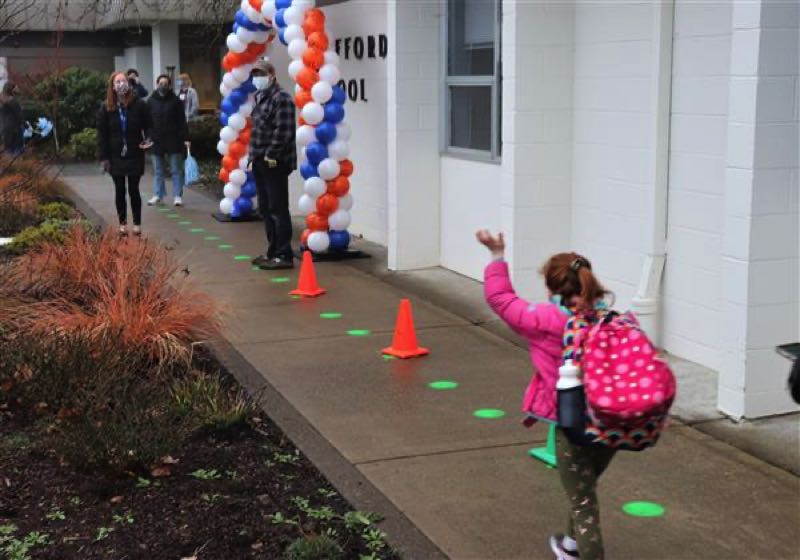 COURTESY PHOTO: WEST LINN-WILSONVILLE SCHOOL DISTRICT - Students arrived at Stafford Primary Wednesday, nearly a year after the pandemic began