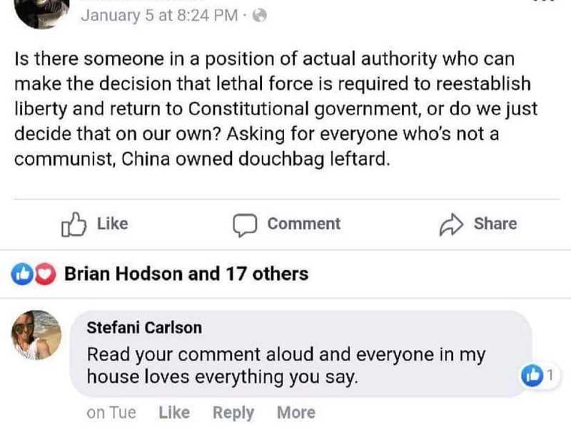 FACEBOOK - A screenshot of the Jan. 5 social media post shows Director Stefani Carlson's comment.