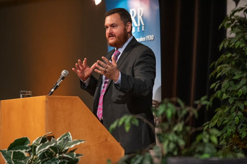 PMG FILE PHOTO - State of Oregon economist Josh Lehner speaks at the 2019 HBA Housing Forecast Breakfast.