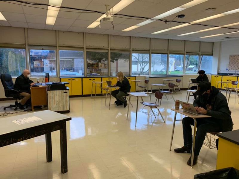 COURTESY PHOTO: ESTACADA SCHOOL DISTRICT - Students sit socially distanced in an Estacada High School classroom.