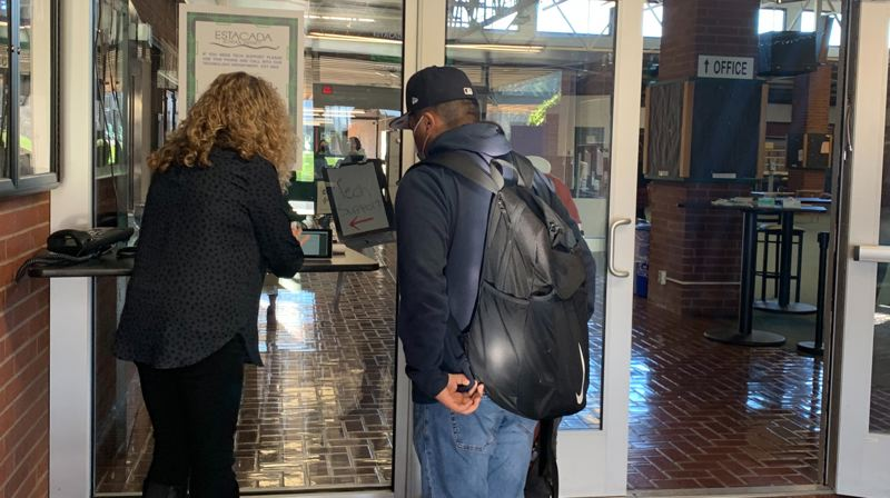 COURTESY PHOTO: ESTACADA SCHOOL DISTRICT - Every morning, Estacada High School students complete a health questionare prior to entering the building.