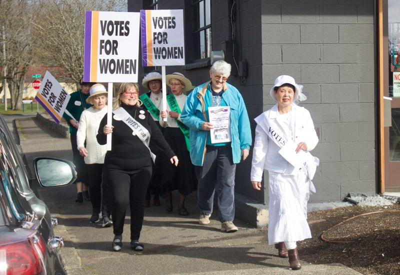PMG FILE PHOTO - Last February, pre-pandemic, the Gresham AAUW dressed as suffragettes to celebrate the 100th anniversary of the ratification of the 19th Amendment.