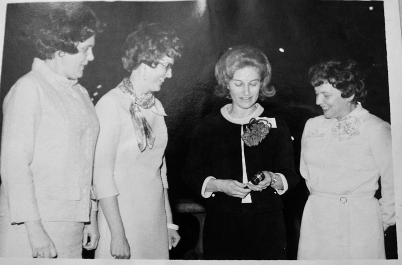 COURTESY PHOTO: GRESHAM AAUW - Marilyn Zook, in the black dress, served as the first president of the Gresham branch of the AAUW.