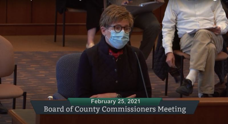 SCREENSHOT - ZOOM - Portland General Electric CEO Maria Pope addresses the Clackamas Board of County Commissioners.