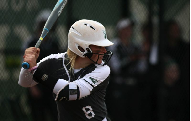 COURTESY PHOTO: PORTLAND STATE ATHLETICS/ANNEMARIE JACQUES - Senior catcher Rachel Menlove (8) has started 123 games vehind the plate for Portland State's softball team.
