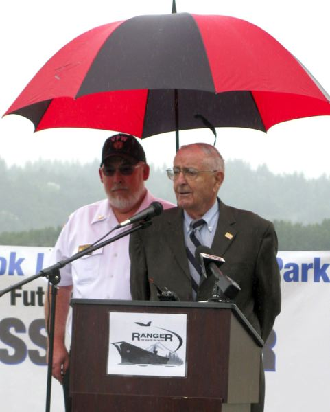 PMG FILE PHOTO - Former Oregon Gov. Victor G. Atiyeh addresses a crowd gathered at Chinook Landing Marine Park in Fairview in 2010.
