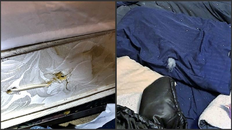 COURTESY PHOTO: PPB - Bullet holes in a child's mattress and blanket.